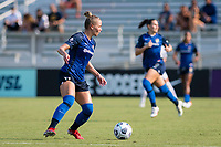 CARY, NC - SEPTEMBER 12: Merritt Mathias #11 of the NC Courage looks for options during a game between Portland Thorns FC and North Carolina Courage at Sahlen's Stadium at WakeMed Soccer Park on September 12, 2021 in Cary, North Carolina.