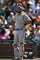 SAN FRANCISCO, CA - JULY 25: Jacob Stallings #58 of the Pittsburgh Pirates works behind the plate against the San Francisco Giants during the game at Oracle Park on Sunday, July 25, 2021 in San Francisco, California. (Photo by Brad Mangin)