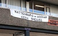 Nederland  Amsterdam -  2020.  Protest in Kattenburg. Woonwijk geen Snelweg. Foto : ANP/ HH / Berlinda van Dam