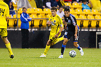 27 MAY 2009: #19 Robbie Rogers, Columbus Crew forward and #15 Shea Salinas of the San Jose Earthquakes in action during the San Jose Earthquakes at Columbus Crew MLS game in Columbus, Ohio on May 27, 2009.