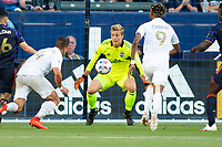 CARSON, CA - JUNE 19: Stefan Cleveland #30 GK of the Seattle Sounders FC defending his goal during a game between Seattle Sounders FC and Los Angeles Galaxy at Dignity Health Sports Park on June 19, 2021 in Carson, California.
