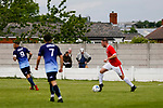 Ragnar the Viking, Yorkshire's mascot keeps his eye on the ball. Yorkshire v Parishes of Jersey, CONIFA Heritage Cup, Ingfield Stadium, Ossett. Yorkshire's first competitive game. The Yorkshire International Football Association was formed in 2017 and accepted by CONIFA in 2018. Their first competative fixture saw them host Parishes of Jersey in the Heritage Cup at Ingfield stadium in Ossett. Yorkshire won 1-0 with a 93 minute goal in front of 521 people. Photo by Paul Thompson