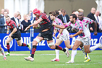 20120823 Copyright onEdition 2012©.Free for editorial use image, please credit: onEdition..Mouritz Botha of Saracens attempts to accelerate away at The Honourable Artillery Company, London in the pre-season friendly between Saracens and Stade Francais Paris...For press contacts contact: Sam Feasey at brandRapport on M: +44 (0)7717 757114 E: SFeasey@brand-rapport.com..If you require a higher resolution image or you have any other onEdition photographic enquiries, please contact onEdition on 0845 900 2 900 or email info@onEdition.com.This image is copyright the onEdition 2012©..This image has been supplied by onEdition and must be credited onEdition. The author is asserting his full Moral rights in relation to the publication of this image. Rights for onward transmission of any image or file is not granted or implied. Changing or deleting Copyright information is illegal as specified in the Copyright, Design and Patents Act 1988. If you are in any way unsure of your right to publish this image please contact onEdition on 0845 900 2 900 or email info@onEdition.com
