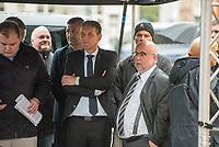 """AfD-Kundgebung in Potsdam.<br /> Ca. 70 AfD-Anhaenger kamen am Samstag den 9. September 2017 zu einer Wahlveranstaltung der rechtsnationalistischen """"Alternative fuer Deutschland"""", AfD. Unter den Teilnehmern waren u.a. Neonazis die """"Patrioten Cottbus"""" oder die sog. """"Schwarze Sonne"""", ein Zeichen der SS auf ihren Jacken trugen. Offiziell hatte die AfD die Kundgebung als Gruendung einer rechten Gewerkschaft namens """"Alternativer Arbeitnehmerverband Mitteldeutschland"""" (Alarm) in Brandenburg deklariert.<br /> 500 Menschen protestierten friedlich gegen die Veranstaltung.<br /> Im Bild: vlnr. Bjoern Hoecke, AfD-Fraktionsvorsitzender im Thueringer Landtag und Juergen Pohl aus Thueringen. Pohl leitet das Wahlkreisbuero von Bjoern Hoecke.<br /> 9.9.2017, Potsdam<br /> Copyright: Christian-Ditsch.de<br /> [Inhaltsveraendernde Manipulation des Fotos nur nach ausdruecklicher Genehmigung des Fotografen. Vereinbarungen ueber Abtretung von Persoenlichkeitsrechten/Model Release der abgebildeten Person/Personen liegen nicht vor. NO MODEL RELEASE! Nur fuer Redaktionelle Zwecke. Don't publish without copyright Christian-Ditsch.de, Veroeffentlichung nur mit Fotografennennung, sowie gegen Honorar, MwSt. und Beleg. Konto: I N G - D i B a, IBAN DE58500105175400192269, BIC INGDDEFFXXX, Kontakt: post@christian-ditsch.de<br /> Bei der Bearbeitung der Dateiinformationen darf die Urheberkennzeichnung in den EXIF- und  IPTC-Daten nicht entfernt werden, diese sind in digitalen Medien nach §95c UrhG rechtlich geschuetzt. Der Urhebervermerk wird gemaess §13 UrhG verlangt.]"""