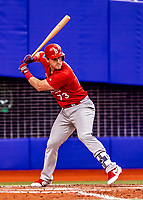 26 March 2018: St. Louis Cardinals infielder Patrick Wisdom in action during an exhibition game against the Toronto Blue Jays at Olympic Stadium in Montreal, Quebec, Canada. The Cardinals defeated the Blue Jays 5-3 in the first of two MLB pre-season games in the former home of the Montreal Expos. Mandatory Credit: Ed Wolfstein Photo *** RAW (NEF) Image File Available ***