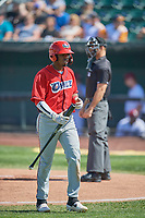 Jose Verrier (12) of the Orem Owlz walks to the dugout against the Idaho Falls Chukars at Melaleuca Field on July 14, 2019 in Idaho Falls, Idaho. The Owlz defeated the Chukars 6-2. (Stephen Smith/Four Seam Images)