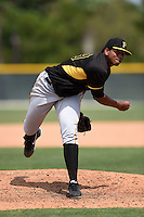 Pittsburgh Pirates pitcher Miguel Ferreras (59) during a minor league spring training game against the Toronto Blue Jays on March 26, 2015 at Pirate City in Bradenton, Florida.  (Mike Janes/Four Seam Images)