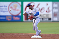 Dunedin Blue Jays shortstop Orelvis Martinez (11) throws to first base during a game against the Clearwater Threshers on May 18, 2021 at BayCare Ballpark in Clearwater, Florida.  (Mike Janes/Four Seam Images)