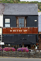 """""""The Bitch Is Back"""" sign at Noah's Yard, in Uplands, Swansea, which some locals believe relate to next year's Elton John concert at the Liberty Stadium, Swansea, Wales, UK. Tuesday 22 June 2021"""