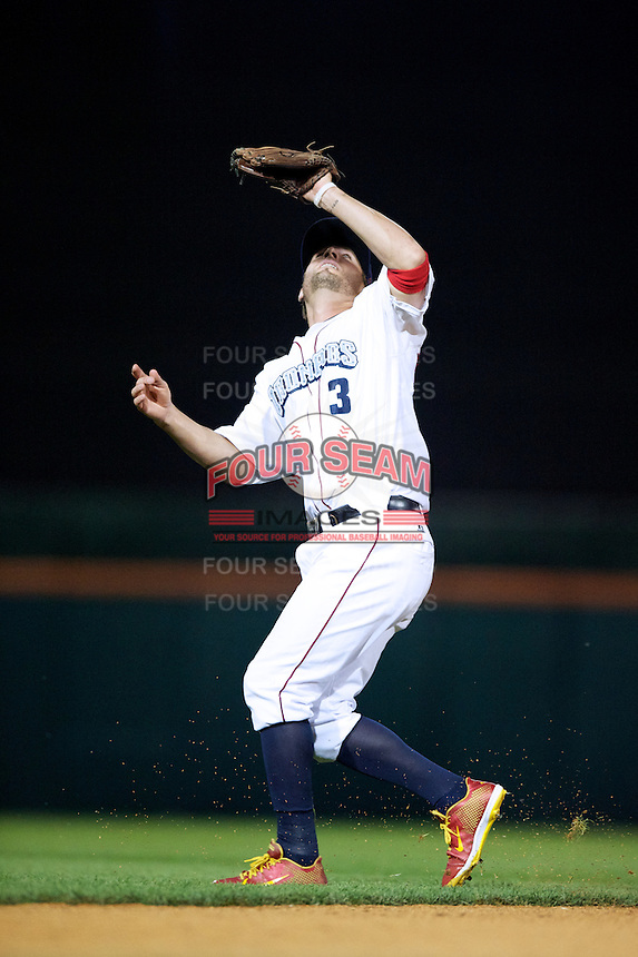 Lehigh Valley Ironpigs shortstop Kevin Frandsen #3 during the Triple-A All-Star game featuring the Pacific Coast League and International League top players at Coca-Cola Field on July 11, 2012 in Buffalo, New York.  PCL defeated the IL 3-0.  (Mike Janes/Four Seam Images)