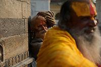 Sadus at Pashupatinath Cremation and Temple Area in Kathmadu, Nepal