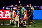 Luis Reyes of  Club America (MEX) receives a red card during their CONCACAF Champions League Semi Finals match against Los Angeles FC (USA) at the Orlando's Exploria Stadium on 19 December 2020, in Florida, USA. Photo by Victor Fraile / Power Sport Images