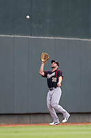 Sacramento River Cats outfielder Shane Peterson (32) makes a catch during the Pacific Coast League baseball game against the Round Rock Express on June 19, 2014 at the Dell Diamond in Round Rock, Texas. The Express defeated the River Cats 7-1. (Andrew Woolley/Four Seam Images)