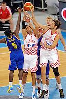 "Krunoslav Simon and Ante Tomic of Croatia in action during European basketball championship ""Eurobasket 2013"" quarter-final basketball game between Croatia and Ukraine in Stozice Arena in Ljubljana, Slovenia, on September 19. 2013. (credit: Pedja Milosavljevic  / thepedja@gmail.com / +381641260959)"