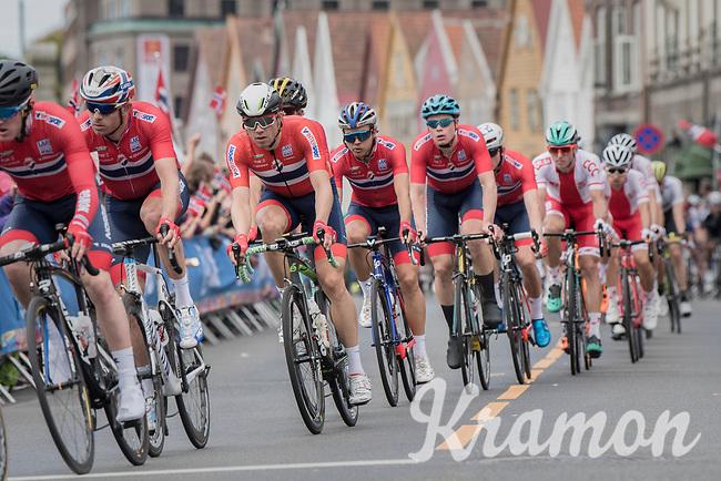 Team Norway racing in Bergen city center<br /> <br /> Men Elite Road Race<br /> <br /> UCI 2017 Road World Championships - Bergen/Norway