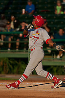 Domnit Bolivar of the Palm Beach Cardinals during the game at Jackie Robinson Ballpark in Daytona Beach, Florida on July 27, 2010. Photo By Scott Jontes/Four Seam Images