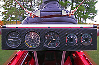 rear seat instrument panel on a Lockwood Aircraft AirCam during run up, including the vertical speed indicator, airspeed indicator, altimeter and tachometers