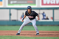 Jupiter Hammerheads Marcus Chiu (14) leads off first base during a game against the Lakeland Flying Tigers on July 30, 2021 at Joker Marchant Stadium in Lakeland, Florida.  (Mike Janes/Four Seam Images)