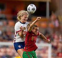 HOUSTON, TX - JUNE 10: Lindsey Horan #9 of the USWNT heads the ball during a game between Portugal and USWNT at BBVA Stadium on June 10, 2021 in Houston, Texas.