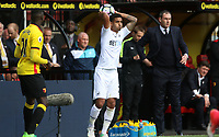 Kyle Naughton of Swansea City and Swansea City manager Paul Clement during the Premier League match between Watford and Swansea City at Vicarage Road Stadium, Watford, England, UK. Saturday 15 April 2017