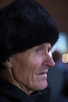 Moscow, Russia, 28/10/2011..An old man watching the gala reopening of the Bolshoi Theatre on giant video screens erected in Ploschad Revolutsii opposite the theatre, which had been closed since 2005 for reconstruction work that cost some $700 million.