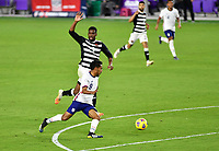 ORLANDO CITY, FL - JANUARY 31: Jesus Ferreira #9 of the United States turns with the ball during a game between Trinidad and Tobago and USMNT at Exploria stadium on January 31, 2021 in Orlando City, Florida.