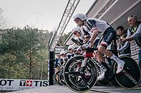 Tom Dumoulin (NED/Sunweb) off the start ramp<br /> <br /> UCI MEN'S TEAM TIME TRIAL<br /> Ötztal to Innsbruck: 62.8 km<br /> <br /> UCI 2018 Road World Championships<br /> Innsbruck - Tirol / Austria