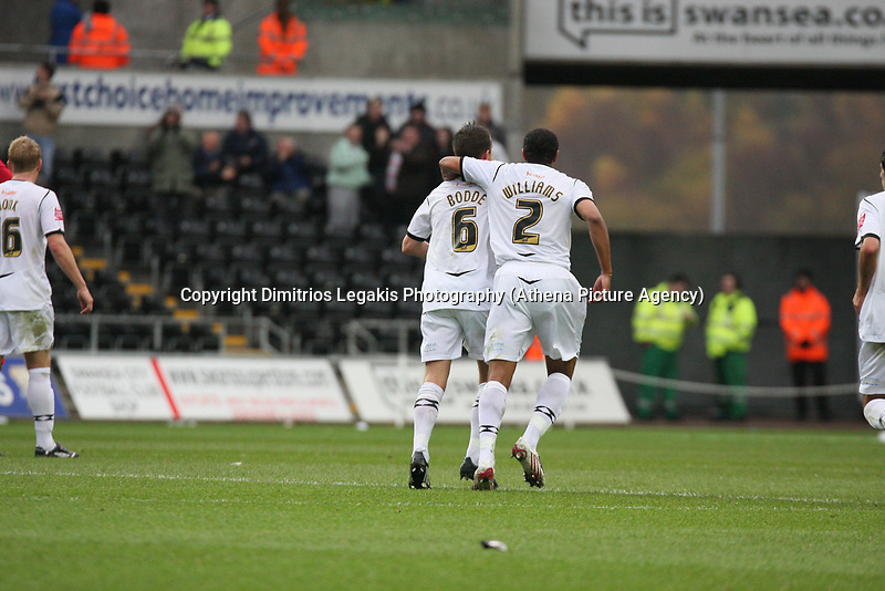 Pictured: Ferrie Bodde (left) and Ashley Williams (right) of Swansea City<br /> Re: Coca Cola Championship, Swansea City Football Club v Watford at the Liberty Stadium, Swansea, south Wales 09 November 2008.<br /> Picture by Dimitrios Legakis Photography (Athena Picture Agency), Swansea, 07815441513