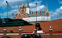 London: The British Library in foreground, St. Pancras (with scaffolding) behind it--2005.