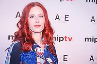 Audrey Fleurot sur le tapis pour le RED CARPET d ouverture du MIPV a l hotel Martinez a Cannes, le lundi 3 avril 2017.