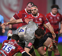 2nd January 2021; Kingsholm Stadium, Gloucester, Gloucestershire, England; English Premiership Rugby, Gloucester versus Sale Sharks; Kyle Moyle  and Lewis Ludlow of Gloucester tackle Cobus Wiese of Sale Sharks