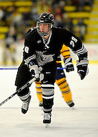 29 December 2007: Western Michigan University Broncos' left wing forward Mike Lesperance, a Senior from Newmarket, Ontario, in action against the Quinnipiac University Bobcats at Gutterson Fieldhouse in Burlington, Vermont. The Bobcats defeated the Broncos 2-1 in the first game of the Sheraton/TD Banknorth Catamount Cup Tournament...Mandatory Photo Credit: Ed Wolfstein Photo