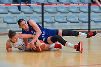 Marjorie Capreaux (9) of Belgium and Sonja Vasic (5) of Serbia pictured during a basketball game between the national teams of Belgium , called the Belgian Cats , and Serbia on Friday 28 th of May 2021 in Kortrijk , Belgium . PHOTO SPORTPIX.BE   SPP   STIJN AUDOOREN