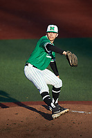 Marshall Thundering Herd starting pitcher Joshua Shapiro (14) in action against the Charlotte 49ers at Hayes Stadium on March 22, 2019 in Charlotte, North Carolina. The Thundering Herd defeated the 49ers 12-6. (Brian Westerholt/Four Seam Images)