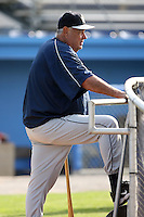 August 23 2008:  Pitching Coach Ken Rowe of the Mahoning Valley Scrappers, Class-A affiliate of the Cleveland Indians, during a game at Dwyer Stadium in Batavia, NY.  Photo by:  Mike Janes/Four Seam Images