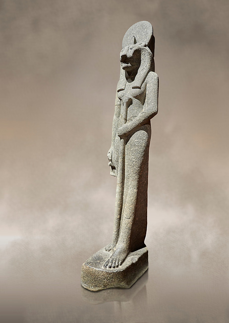 """Ancient Egyptian statue of goddess Sekhmet, grandodiorite, New Kingdom, 18th & 20thDynasty (1390-1150 BC), Thebes. Egyptian Museum, Turin. Grey Background.<br /> <br /> This statue is unfinished and is in the stage before polishing. Sekhmet, """"the Powerful One"""" was a fearsome goddess symbolised by her lioness head. Daughter of the sun she personifies the disk of the world during the day. Sekhmet is the angry manifestation of Hathor inflicting the scourges of summer heat, famine and illness which is why the goddess needed to be exorcised every day. Drovetti Collection. C 264"""
