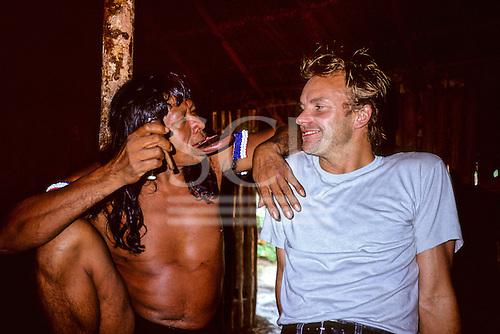 Capoto village, Brazil. Sting with Chief Raoni of the Megranoti-Kayapo in Nov 1990.