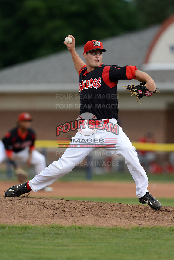 Batavia Muckdogs pitcher Tyler Kinley (26) during a game against the Williamsport Crosscutters on September 4, 2013 at Dwyer Stadium in Batavia, New York.  Williamsport defeated Batavia 6-3 in both teams season finale.  (Mike Janes/Four Seam Images)