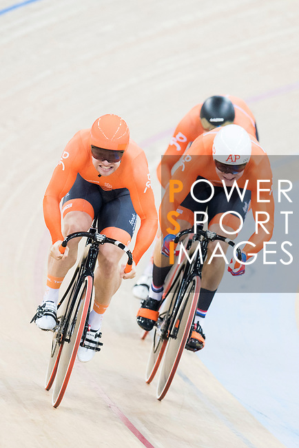 The team of Netherlands with Theo Bos, Jeffrey Hoogland and Nils van 'T Hoenderdaal compete in Men's Team Sprint - Qualifying match as part of the 2017 UCI Track Cycling World Championships on 12 April 2017, in Hong Kong Velodrome, Hong Kong, China. Photo by Victor Fraile / Power Sport Images