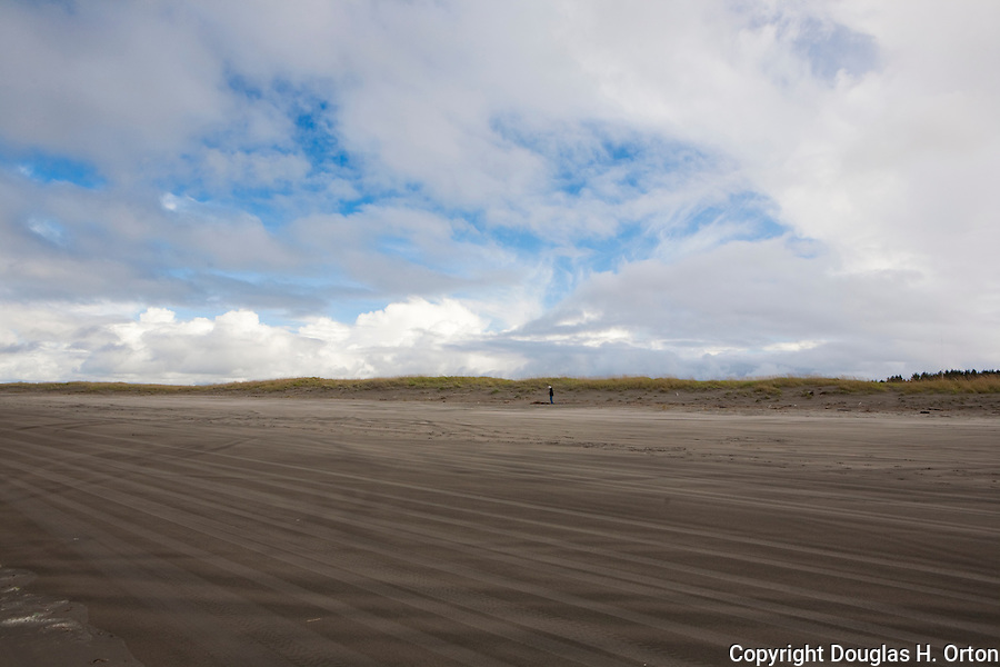 A lone woman beachcombs during a break in spring storms, Long Beach, on the Pacific Ocean side of the Long Beach Penninsula on the southern Washington coast earns it's name with long open sand beaches. Olympic Peninsula