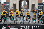 Team Jumbo-Visma at sign on before the start of the 82nd edition of Gent-Wevelgem 2020 running 232km from Ypres to Wevelgem, Belgium. 11th October 2020.  <br /> Picture: Colin Flockton   Cyclefile<br /> <br /> All photos usage must carry mandatory copyright credit (© Cyclefile   Colin Flockton)