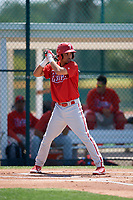Philadelphia Phillies Alexito Feliz (7) during a Minor League Extended Spring Training game against the Pittsburgh Pirates on May 3, 2018 at Pirate City in Bradenton, Florida.  (Mike Janes/Four Seam Images)