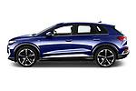 Car Driver side profile view of a 2022 Audi Q4-e-tron EV-S-Line 5 Door SUV Side View