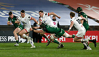 Friday 23rd April 2021; James Hume on the attack is tackled by Eoghan Masterson during the first round of the Guinness PRO14 Rainbow Cup between Ulster Rugby and Connacht Rugby at Kingspan Stadium, Ravenhill Park, Belfast, Northern Ireland. Photo by John Dickson/Dicksondigital