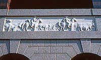 Ballparks: Arlington, TX. The Ballpark, Bas Reliefs on Texas themes over arches I am sure inspired by Pension Bldg. in Washington