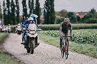 Gianni Moscon (ITA/INEOS Grenadiers) solo ahead<br /> <br /> 118th Paris-Roubaix 2021 (1.UWT)<br /> One day race from Compiègne to Roubaix (FRA) (257.7km)<br /> <br /> ©kramon
