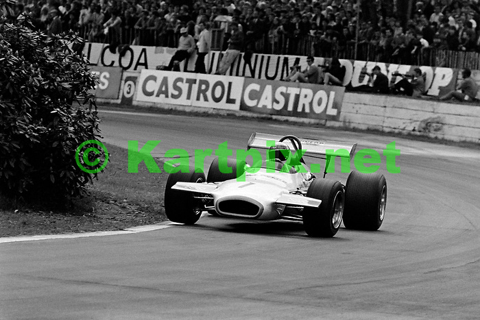 A victorious Jackie Stewart at Crystal Palace in 1970, taking victory in his John Coombs run formula 2 Brabham.