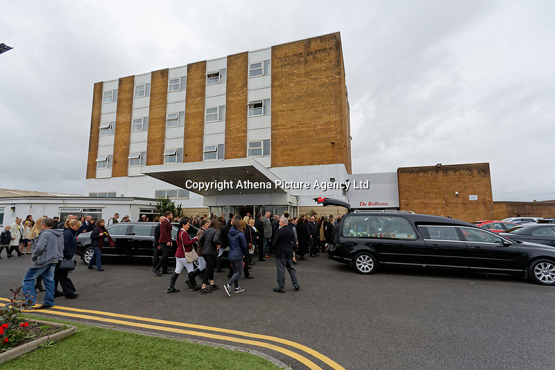 """Pictured: Hundreds of mourners attend the service at Aberavon Beach Hotel in Port Talbot, Wales, UK. Monday 08 October 218<br /> Re: A grieving father will mourners on horseback at the funeral of his """"wonderful"""" son who killed himself after being bullied at school.<br /> Talented young horse rider Bradley John, 14, was found hanged in the school toilets by his younger sister Danielle.<br /> Their father, farmer Byron John, 53, asked the local riding community to wear their smart hunting gear at Bradley's funeral.<br /> Police are investigating Bradley's death at the 500-pupils St John Lloyd Roman Catholic school in Llanelli, South Wales.<br /> Bradley's family claim he had been bullied for two years after being diagnosed with Attention Deficit Hyperactivity Disorder.<br /> He went missing during lessons and was found in the toilet cubicle by his sister Danielle, 12."""