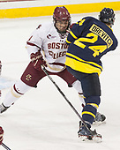 Michael Kim (BC - 4), Tyler Drevitch (Merrimack - 24) - The visiting Merrimack College Warriors defeated the Boston College Eagles 6 - 3 (EN) on Friday, February 10, 2017, at Kelley Rink in Conte Forum in Chestnut Hill, Massachusetts.