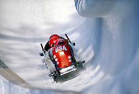 USA bobsled during 1994 Winter Olympics in Lillehammer. Lillehammer, Norway Olympic Bobsled track.